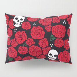 Skulls and Roses Pattern Pillow Sham