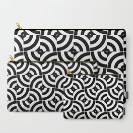 Black And White Pop-Art Circles Carry-All Pouch