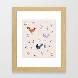 Little Hens (ivory) Framed Art Print