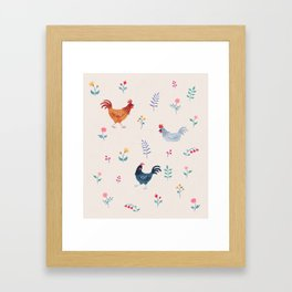 Little Hens (ivory) Framed Art Print