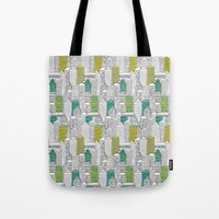 building Tote Bags featuring Building by AlakaZoo
