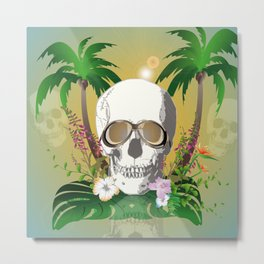 Skull with sunglasses a Metal Print