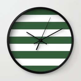 Hunter green -  solid color - white stripes pattern Wall Clock