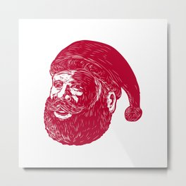 Santa Claus Head Woodcut Metal Print
