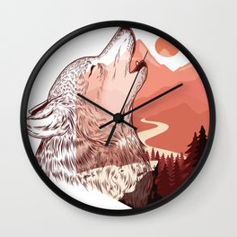 Vector illustration of a howling wolf Landscape silhouette vector illustration with colorful design Wall Clock