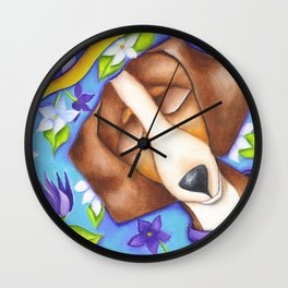 Happy Dreams Dachshund Dog Original Art Wall Clock