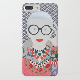 Iris Apfel printed reproduction of an original papercraft illustration iPhone Case