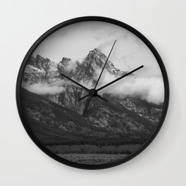 Mountains with snow cap and cloud necklace Wall Clock