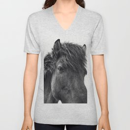 Fuzzy Horse Photograph in Black and White Unisex V-Neck