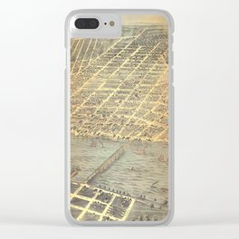 Vintage Pictorial Map of Toledo OH (1870) Clear iPhone Case