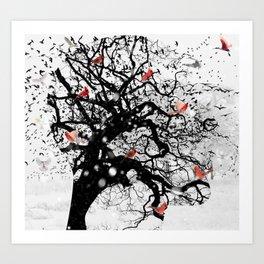 Red Birds in Snow by GEN Z Art Print