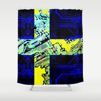 sweden Shower Curtains featuring circuit board Sweden (Flag) by seb mcnulty