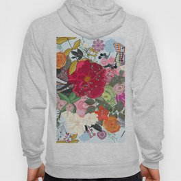 Spring Time Colorful Vibrant Colored Artistic Flowers Bouquet With Butterfly and Dragonfly Pattern Hoody