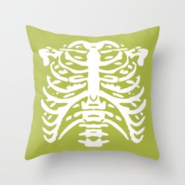 Human Rib Cage Pattern Chartreuse Green 2 Throw Pillow