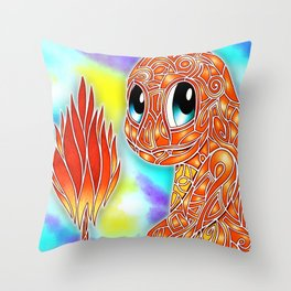 Red Flame Char Throw Pillow