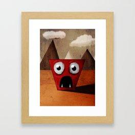 Red Trapezoid Monster Framed Art Print