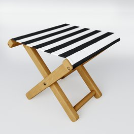 Large Black and White Horizontal Cabana Stripe Folding Stool