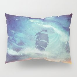 Surreal Pirate Ship // Abstract Space Wave // Pirate Galaxy Pillow Sham