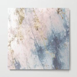 Marble Pattern in Blue, Pink and Gold 2 Metal Print