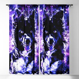 border collie dog lying down watercolor splatters cool blue purple Blackout Curtain