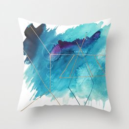 Galaxy Series [1]: an abstract mixed media piece in blue, purple, white, and gold Throw Pillow
