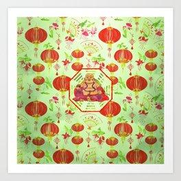 Watercolor Laughing Happy Buddha on Bagua Art Print