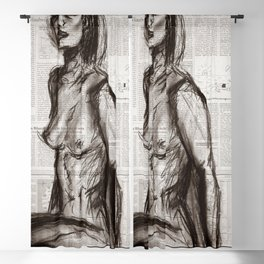Rain Shower (Regenschauer) Charcoal Newspaper Figure Drawing Blackout Curtain