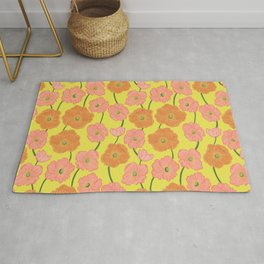 Icelandic Poppies Springtime Floral on Yellow Rug