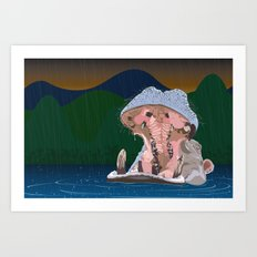 Hippo Rain Art Print