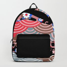 Nature background with japanese sakura flower Cherry, black wave circle pattern Backpack