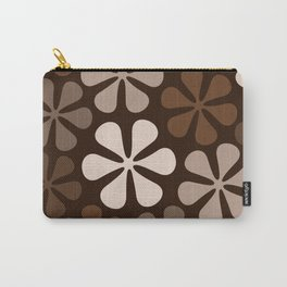 Abstract Flowers Browns & Creams Carry-All Pouch
