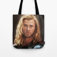 thor Tote Bags featuring Thor by LindaMarieAnson