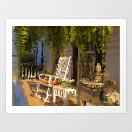 Sun Sets on a Southern Porch Art Print