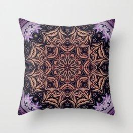 Strange Days // Psychedelic Trippy Dark Visionary Art Circle Abstract Orange Purple Black Throw Pillow