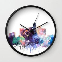Los Angeles Watercolor Skyline Wall Clock