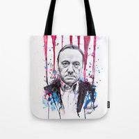 house of cards Tote Bags featuring Frank Underwood - House of Cards by Denise Esposito