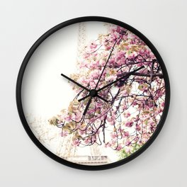 Cherry blossoms in Paris, Eiffel Tower II Wall Clock