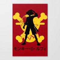 luffy Canvas Prints featuring Monkey D. Luffy by KerzoArt