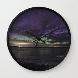 Purple Aurora at Old Garden Wall Clock