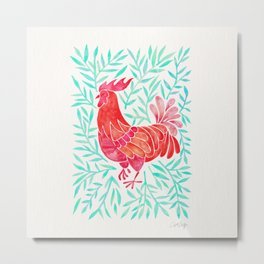 Le Coq – Watercolor Rooster with Mint Leaves Metal Print
