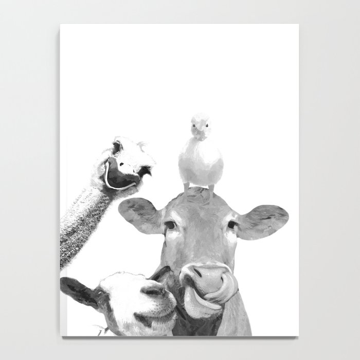 Black and White Farm Animal Friends Notebook