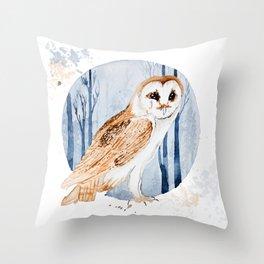 Forest Barn Owl Throw Pillow