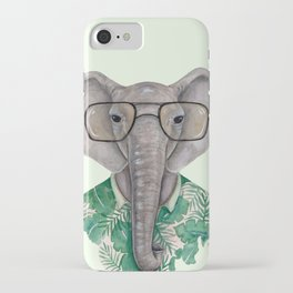 E is for an Elephant in Eyeglasses | Watercolor Tropical Elephant iPhone Case