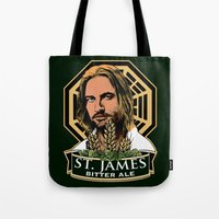ale giorgini Tote Bags featuring St. James Bitter Ale by Ant Atomic