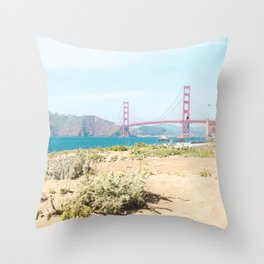 Golden Gate Bridge Beach Throw Pillow