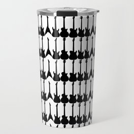 Guitar Silhouettes Black on White Pattern Travel Mug