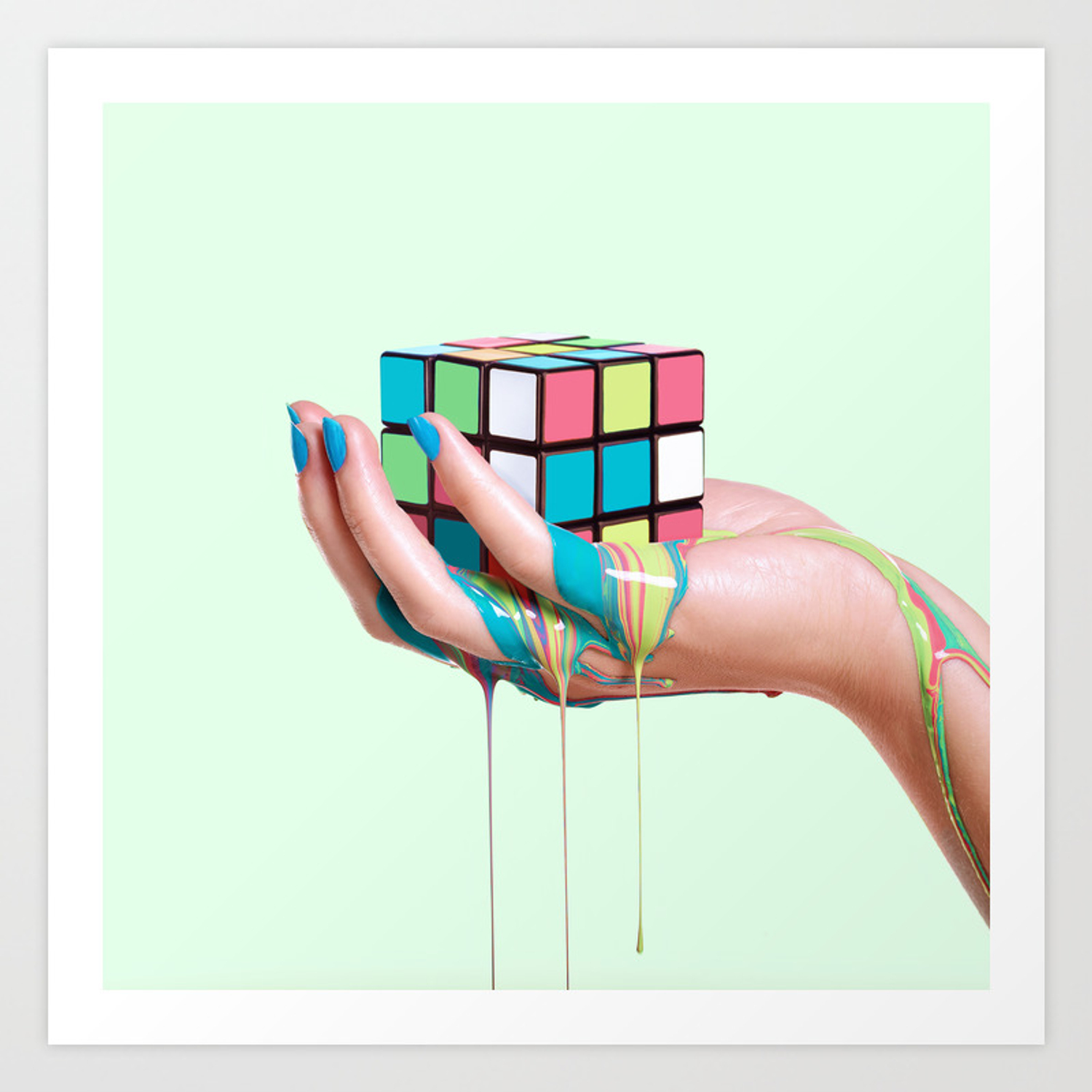 Melting Rubiks Cube Art Print By Paulfuentes Society6