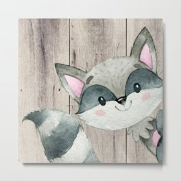 Woodland Friends - Little Racoon In Forest Metal Print