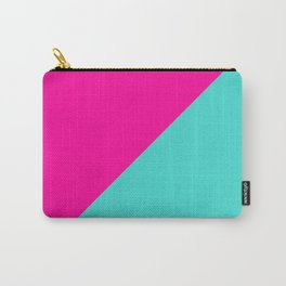 Modern abstract neon pink teal geometric Carry-All Pouch