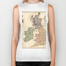 Map Of Great Britain 1795 Biker Tank